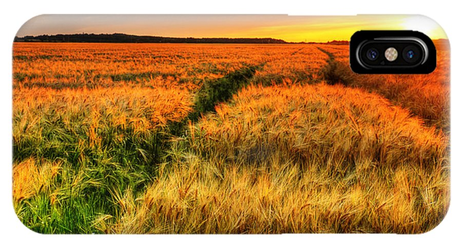 Field IPhone X Case featuring the photograph Stunning Sunset Over Cereal Field by Sylvie Bouchard