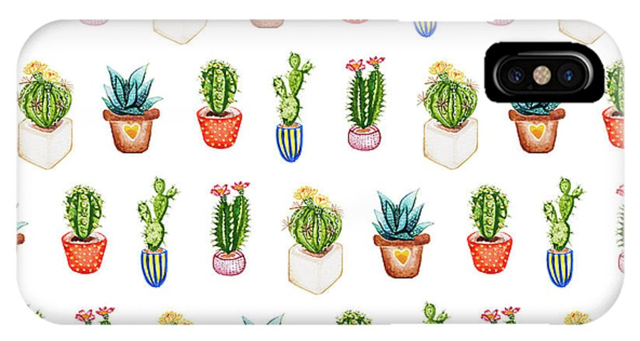 newest 5b090 411cc Succulents And Cacti Watercolour Cacti Repeat IPhone X Case