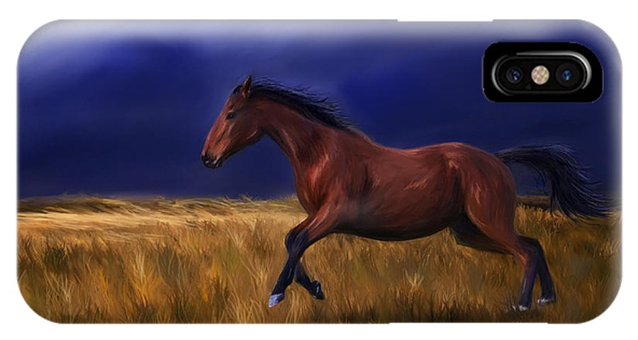 Horse IPhone X Case featuring the painting Galloping Horse Painting by Michelle Wrighton