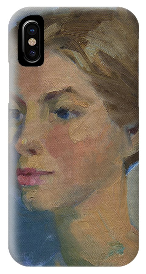 Woman IPhone X Case featuring the painting Sue by Diane McClary