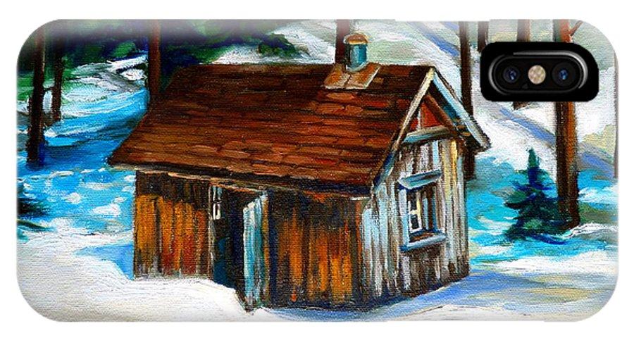 Sugar Shack Quebec Landscape IPhone X Case featuring the painting Sugar Shack Quebec Landscape by Carole Spandau
