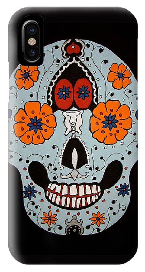 Skull IPhone X Case featuring the painting Sugar Skull by Stephanie Moore