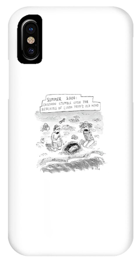 Tripp IPhone X Case featuring the drawing 'summer 2000' by Roz Chast