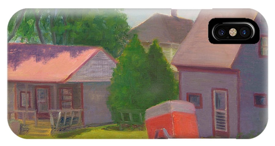 Landscape IPhone X Case featuring the painting Summer Cottages Maine by Phyllis Tarlow