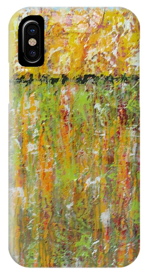 Abstract IPhone X Case featuring the painting Summer Day Resin by Elizabeth Langreiter