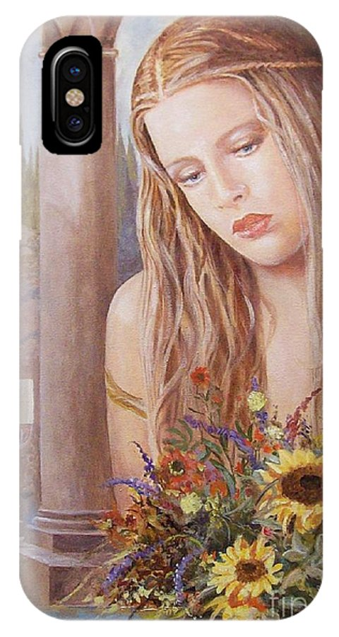 Portrait IPhone X Case featuring the painting Summer Day by Sinisa Saratlic