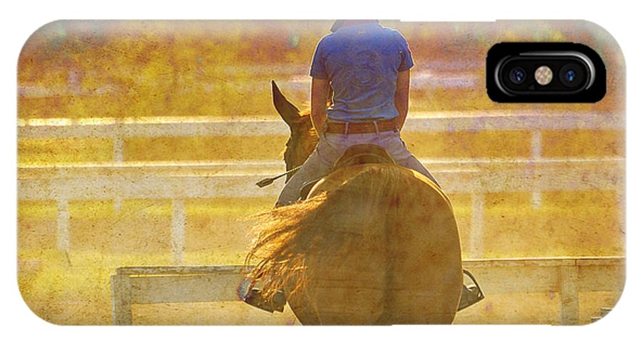 Horse IPhone X Case featuring the digital art Summer Heat by Judy Wood
