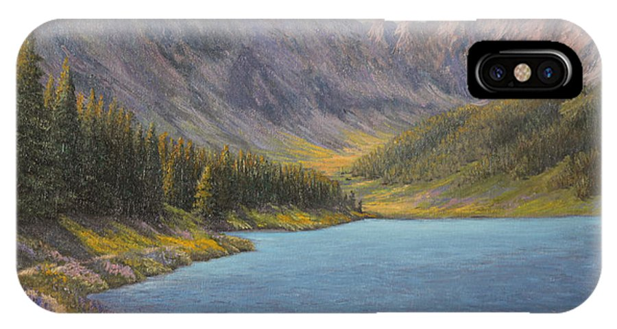 Oil Painting IPhone X Case featuring the painting Summer In The Rockies by Irene Leach
