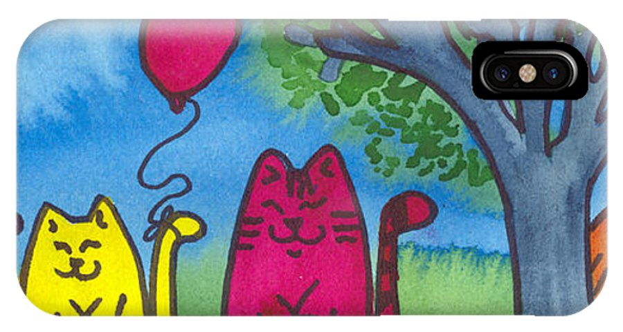 Kittens IPhone X Case featuring the painting Summer Kittens by Christine Callahan