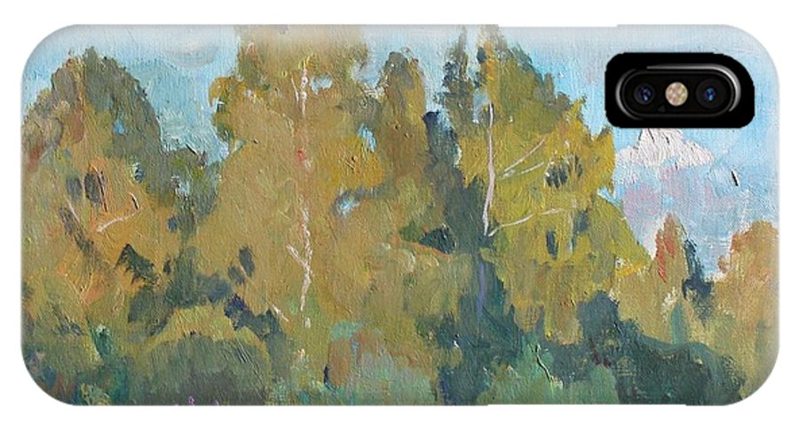 Forest IPhone X Case featuring the painting Summer Landscape by Alexander Stolbov
