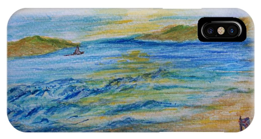 Seascape IPhone X Case featuring the painting Summer/ North Wales by Teresa White