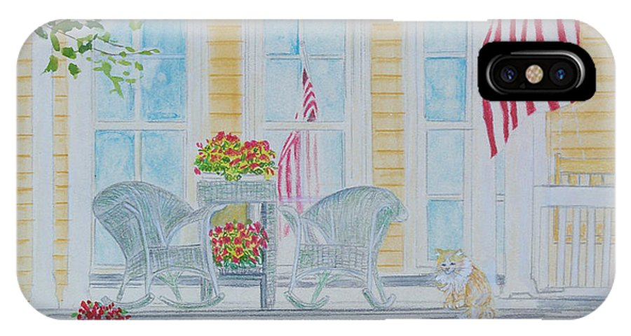 Art IPhone X Case featuring the painting print Summer Porch and Flag for sale by Diane Jorstad