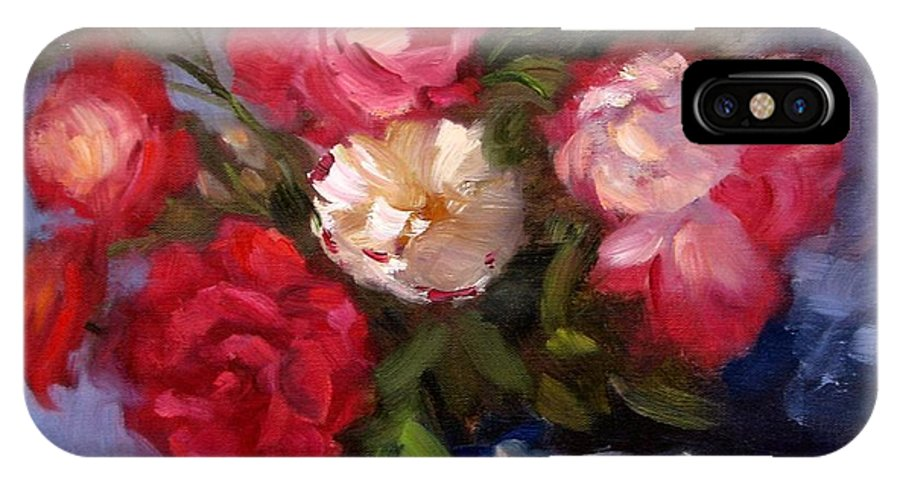 Red Roses IPhone X Case featuring the painting Summer Roses by Karin Leonard