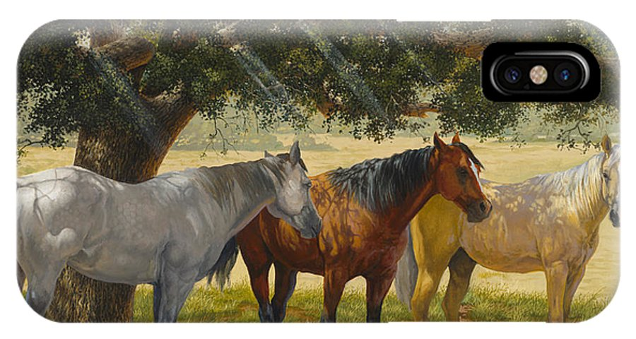 Horse Art IPhone X Case featuring the painting Summer Shade by Howard DUBOIS