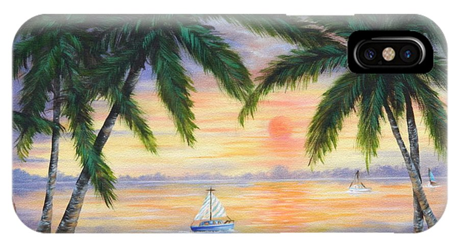 Seascape IPhone Case featuring the painting Summer Sunset by Ruth Bares