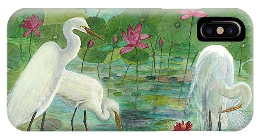 Lily Pads; Egrets; Low Country IPhone X Case featuring the painting Summer Trilogy by Ben Kiger