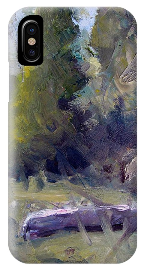 Canoe IPhone X Case featuring the painting Summers End by Susan Elizabeth Jones