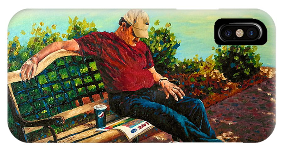 People IPhone X Case featuring the painting Summertime Siesta by Francesca Kee