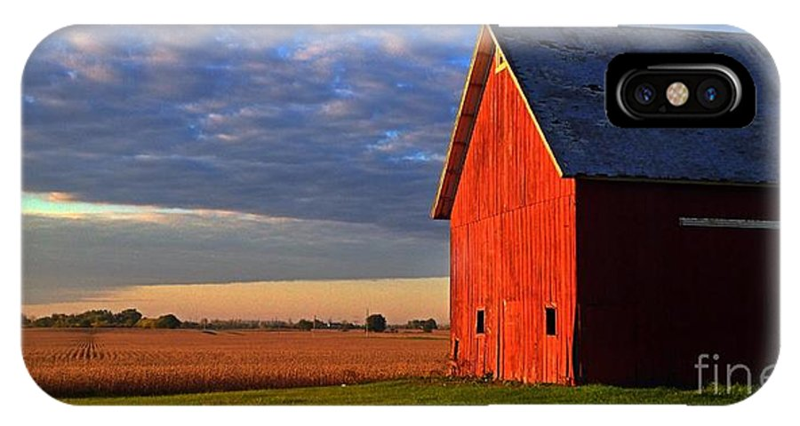 Sunrise IPhone X Case featuring the photograph Sun Barn by Photography by Tiwago