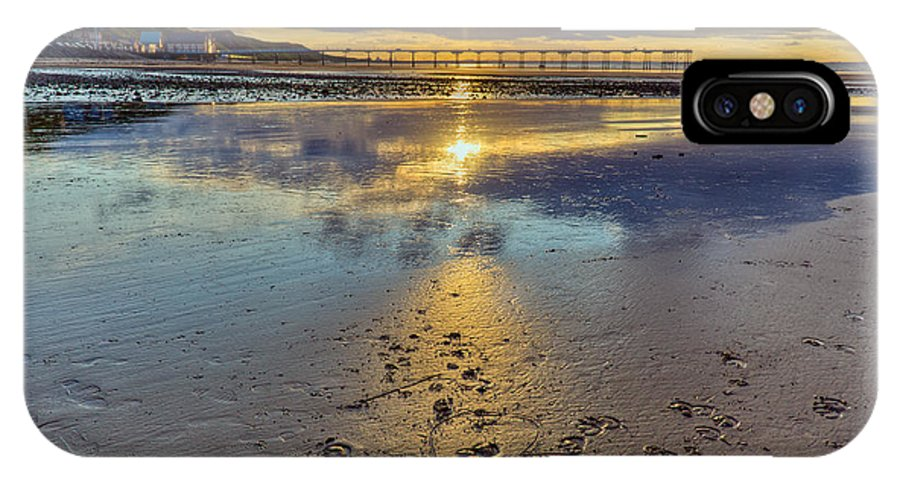 Sunset IPhone X Case featuring the photograph Sun Ray Sunset Saltburn by Gary Eason