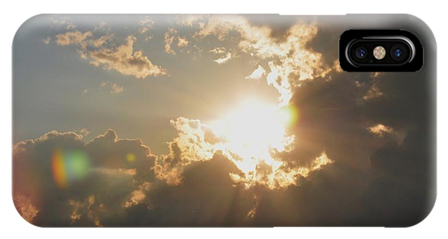 Clouds IPhone X Case featuring the photograph Sun Rays Breaking Through by Barbara Stellwagen