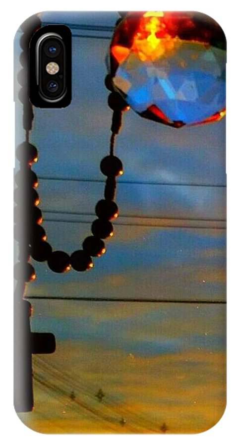 Sun Rise IPhone X Case featuring the photograph Sun Rise With Cross by Rose Wang