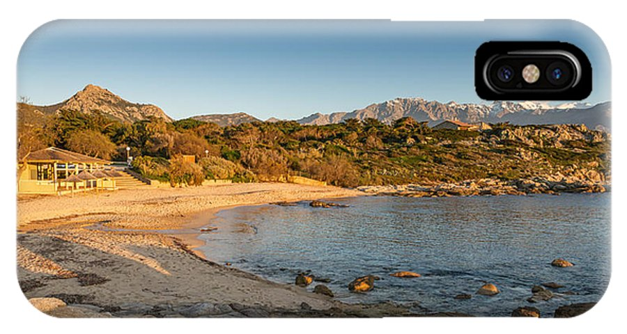 Arinella IPhone X Case featuring the photograph Sun Setting On The Beach At Arinella Plage In Corsica by Jon Ingall