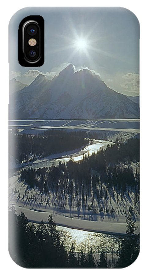 Sunburst IPhone X / XS Case featuring the photograph 1m9313-sunburst Over Grand Teton, Wy by Ed Cooper Photography