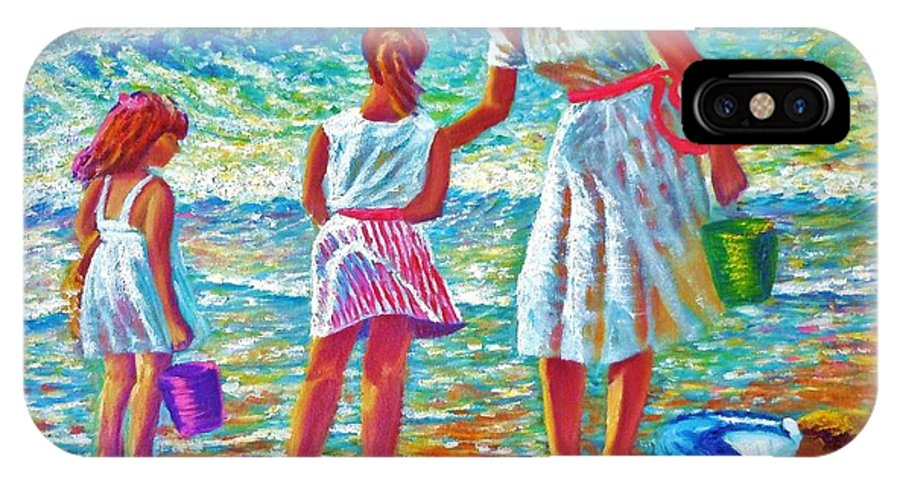 Seascape Oil Painting People Children Shore Waves Breaking Beach Sand Shore Pond Puddle Sun Sunset Low Water Reflectionsmother Child Buckets Playing Shoreline Barefoot Dresses Clothes Air Sky Sunset Wind Colors Pastels Baby Blues Pinks Lace Victorianno Sky Water Sand People IPhone X Case featuring the painting Sunday Afternoon At The Beach by Joseph  Ruff