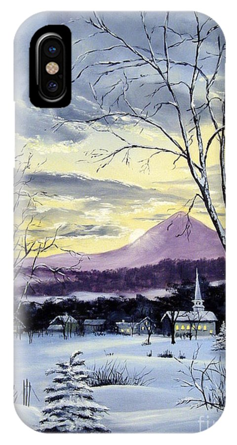 Maine IPhone X Case featuring the painting Sunday In Winter by Lee Piper