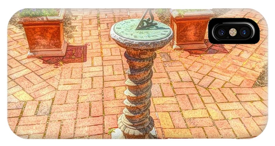 Sundial IPhone X Case featuring the photograph Sundial In The Garden by Becky Lupe
