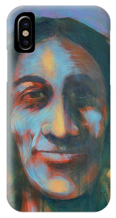Smiling Native American IPhone X Case featuring the painting Sundog by J W Kelly