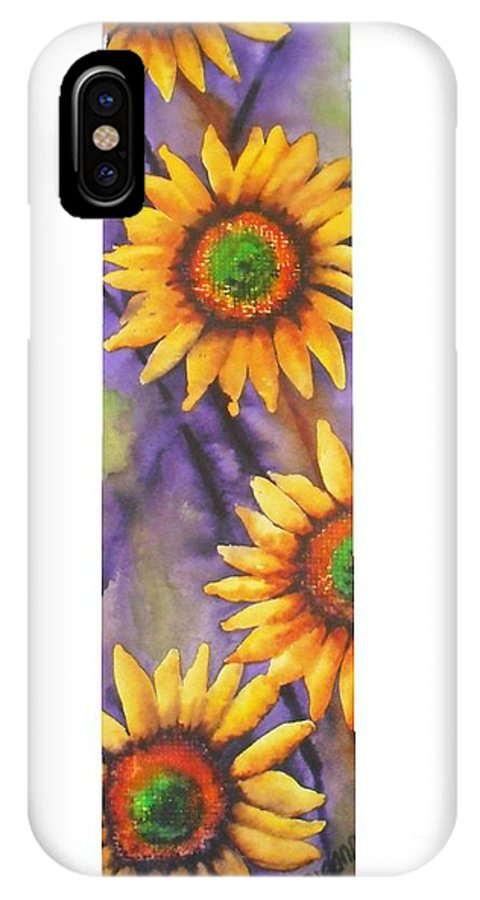 Fine Art Painting IPhone X Case featuring the painting Sunflower Abstract by Chrisann Ellis