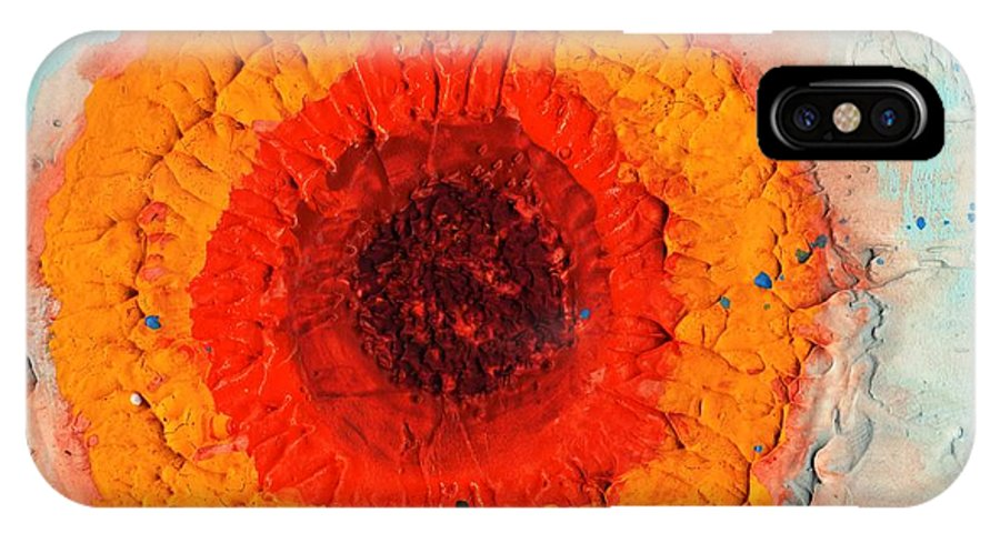 Sunflower IPhone X Case featuring the painting Sunflower And Bee by Phil Strang