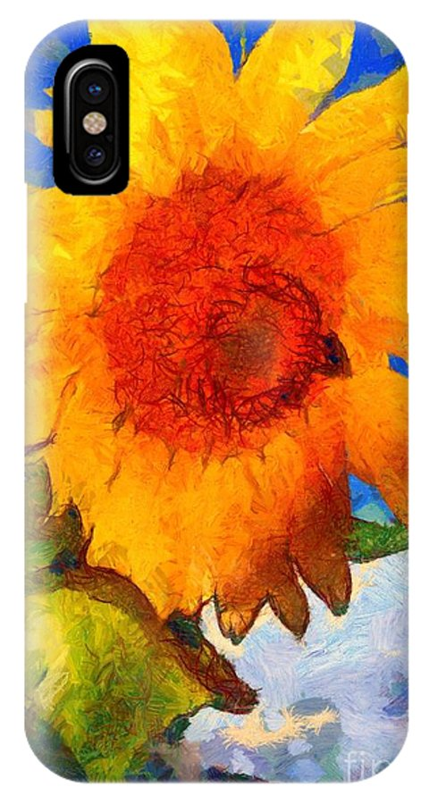 Janine Riley IPhone X Case featuring the painting Sunflower - Bee Happy by Janine Riley