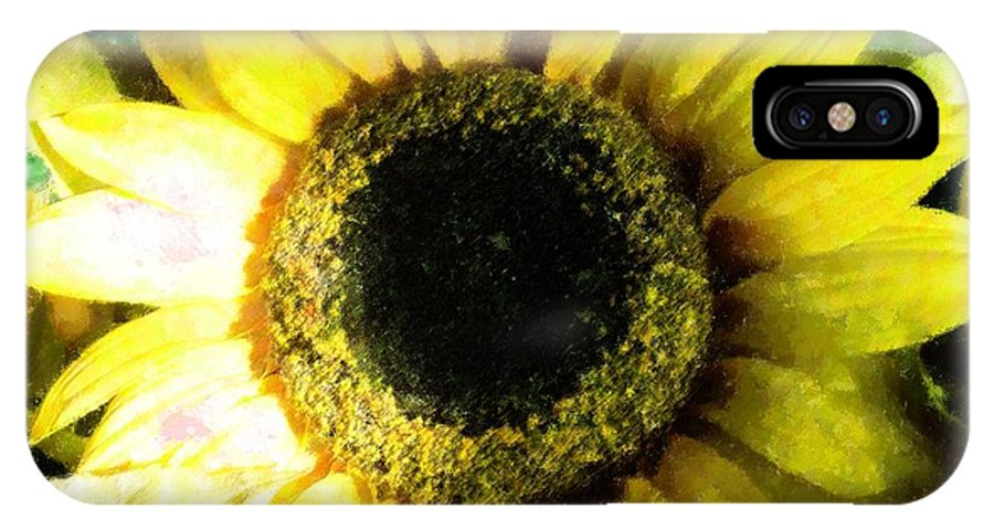 Abstract IPhone X Case featuring the mixed media Sunflower Bold by Florene Welebny