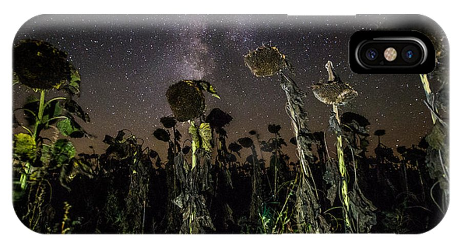 Milky Way IPhone X Case featuring the photograph Sunflower Field At Night by Aaron J Groen