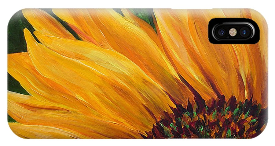 Flowers IPhone X Case featuring the painting Sunflower From Summer by Mary Jo Zorad