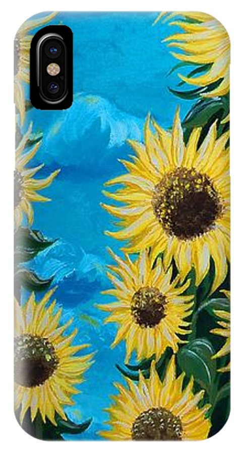Sunflowers IPhone X Case featuring the painting Sunflower Fun by Timothy Michaels Flores