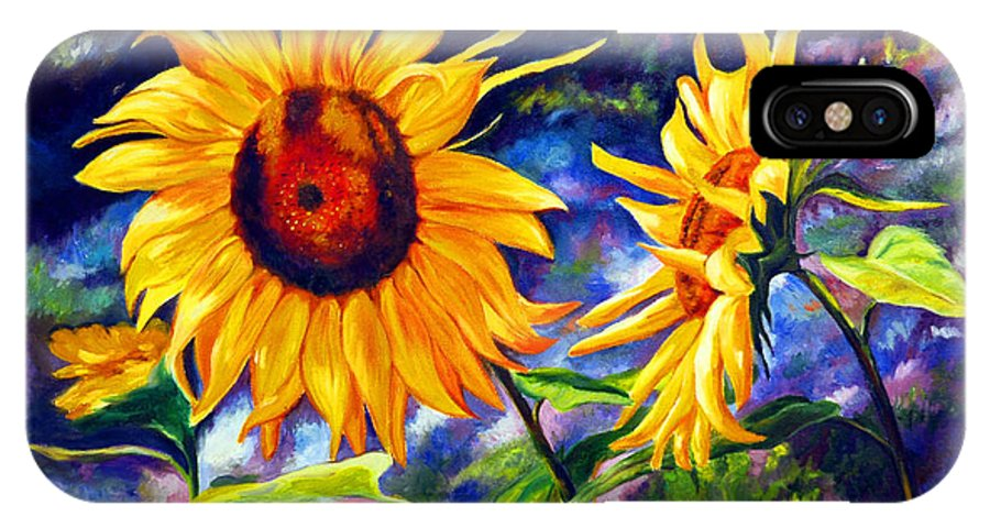 Sunflowers IPhone X Case featuring the painting Sunflower by Gustavo Oliveira