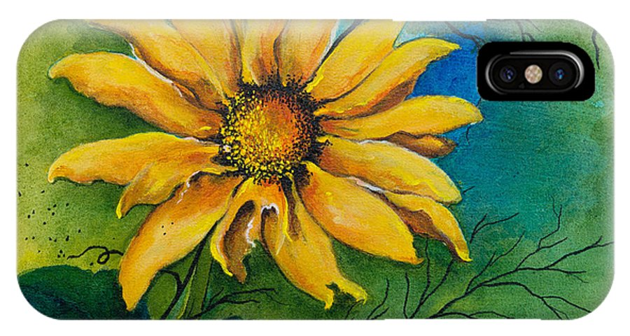 Floral IPhone X Case featuring the painting Sunflower Magic by Dawn Broom