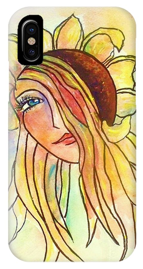 Sunflower IPhone X Case featuring the painting Sunflower by Robin Monroe