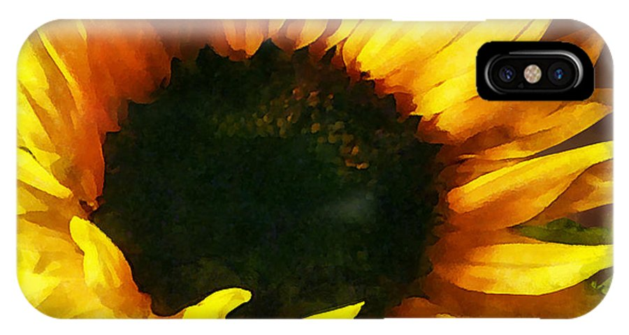 Sunflower IPhone X Case featuring the photograph Sunflower Shadow And Light by Susan Savad