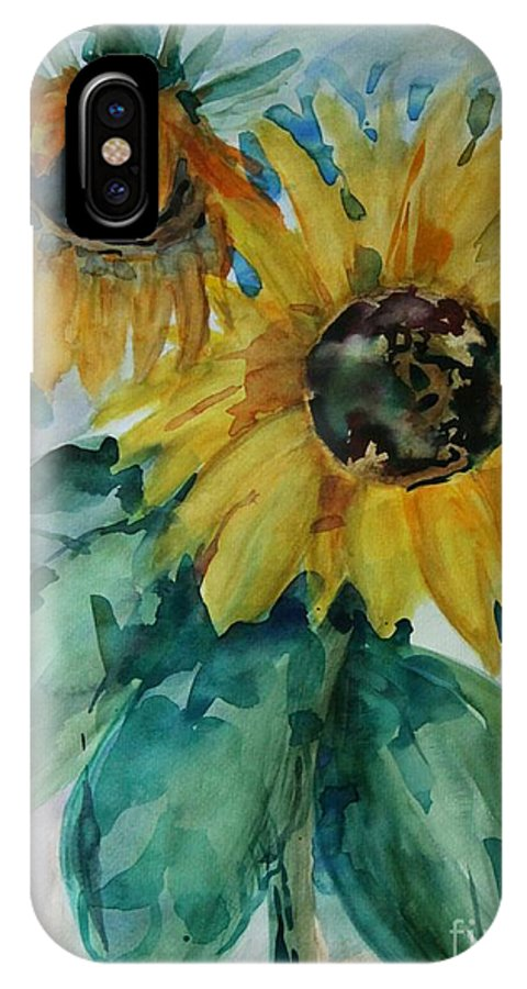 Sunflower IPhone X Case featuring the painting Sunflower - Sold by Christiane Schulze Art And Photography