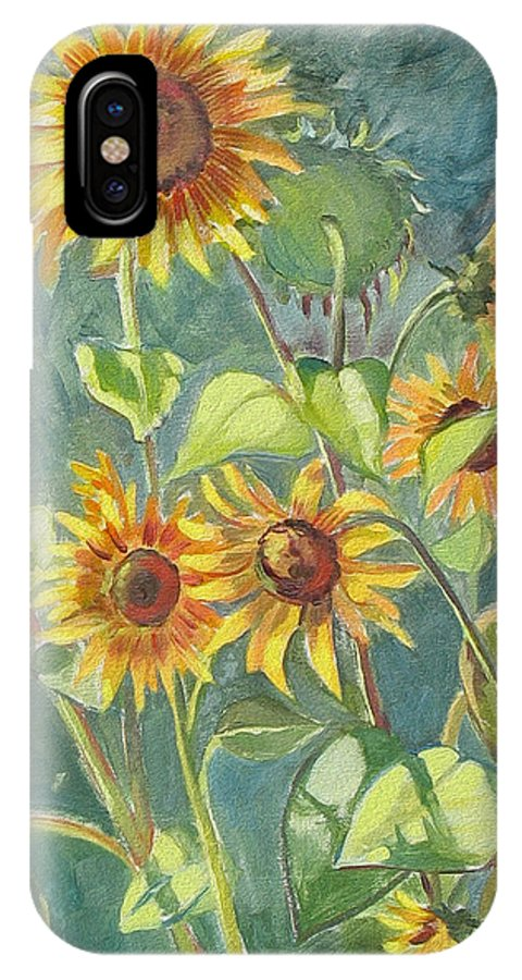 Flowers IPhone X Case featuring the painting Sunflowers by Dominique Amendola