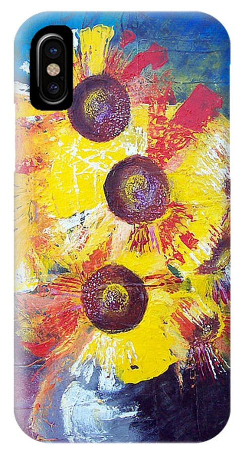 Flowers IPhone Case featuring the painting Sunflowers In Blue Vase by Valerie Wolf