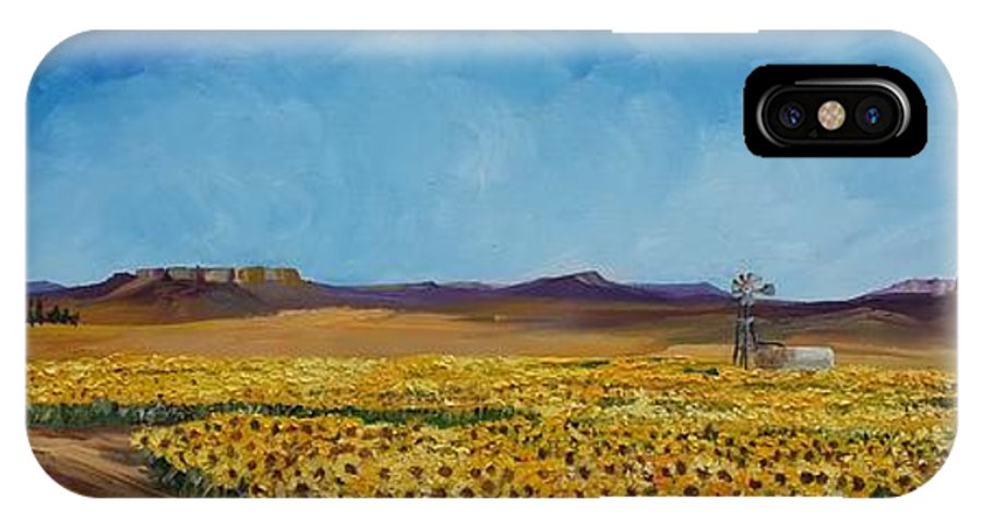 Landscape IPhone X Case featuring the painting Sunflowers In The Sun by Hilke Nel