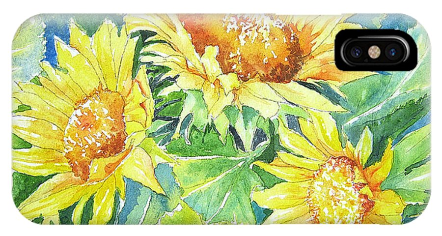 IPhone X Case featuring the painting Sunflowers by Linda Haile