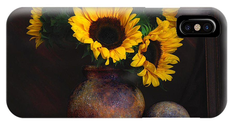 Still Life IPhone X Case featuring the photograph Sunflowers by Malcolm Bumstead