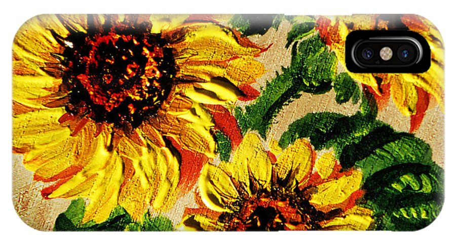 Sunflowers Painting IPhone X Case featuring the painting Sunflowers On Wooden Board by Irina Sztukowski